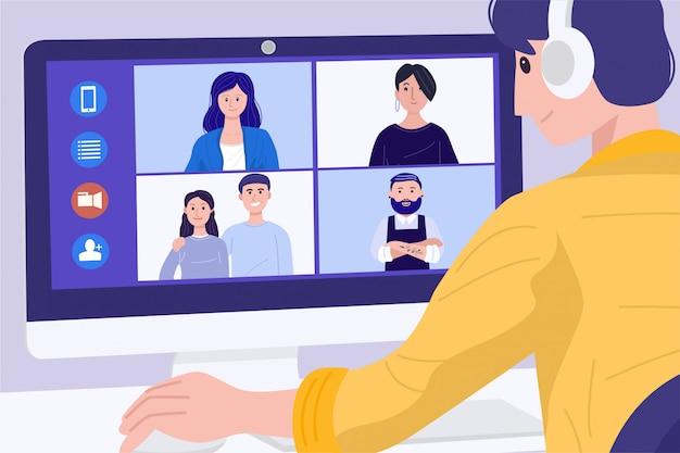 Praca w domu koncepcja, młody człowiek o wideokonferencji ze swoimi kolegami. ilustracja