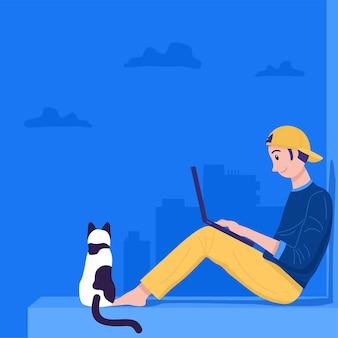Praca w domu koncepcja, młody mężczyzna siedzi na dachu i pracuje na laptopie.