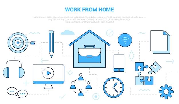 Praca w domu koncepcja wfh z szablonem zestawu ikon w nowoczesnym stylu niebieskim