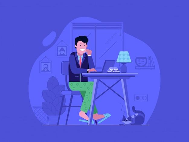 Praca w domu koncepcja z szczęśliwym młodym człowiekiem w garniturze i piżamie za pomocą laptopa.