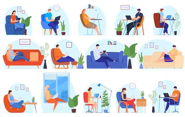 Praca w domu. ludzie pracują w domu w komfortowych warunkach. wolny harmonogram prac, nieformalna atmosfera, rośliny doniczkowe. ilustracja