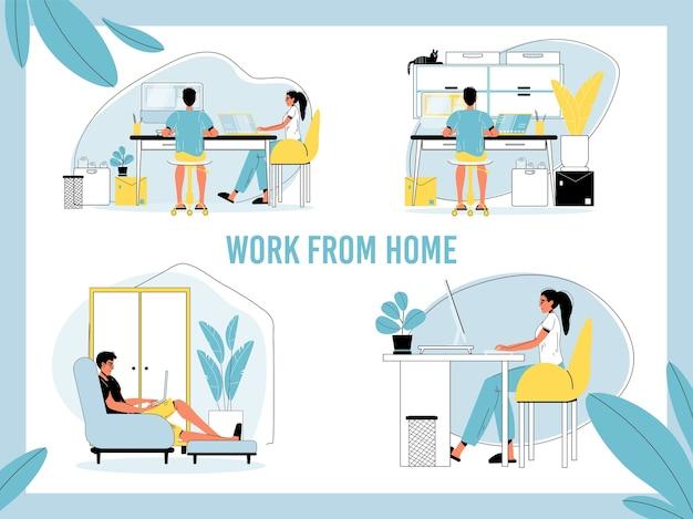 Praca w domu. mężczyzna, kobieta wolny strzelec, osoba samozatrudniona pracująca online z laptopa, komputera w biurze domowym. możliwość pracy zdalnej, praca na odległość. pozostań w domu i bądź bezpieczny