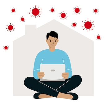 Praca w domu podczas epidemii wirusa środki kwarantanny w celu zapobiegania koronawirusowi