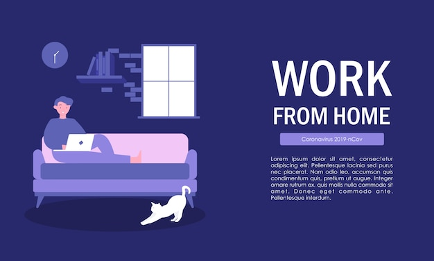 Praca w domu, praca niezależna, praca w domu, biuro domowe. płaska ilustracja