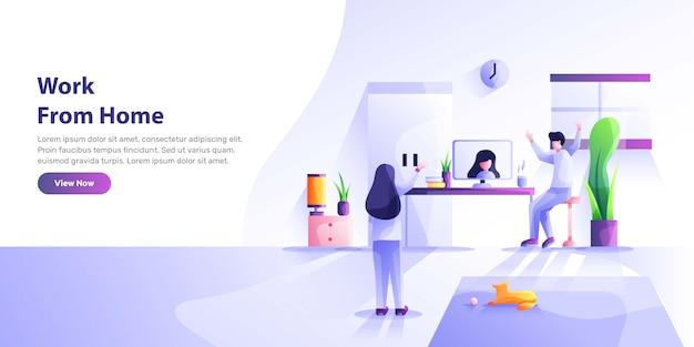 Praca w domu, przestrzeń coworkingowa, ilustracja koncepcyjna. młodzi ludzie, mn i kobiety pracujący na laptopach i komputerach w domu. ilustracja stylu