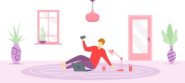 Praca w domu, przestrzeń coworkingowa, ilustracja koncepcyjna. postacie ludzi w domu na kwarantannie. pojęcie samoizolacji pracy w domu. ludzie siedzą z laptopem na kanapie w domu.
