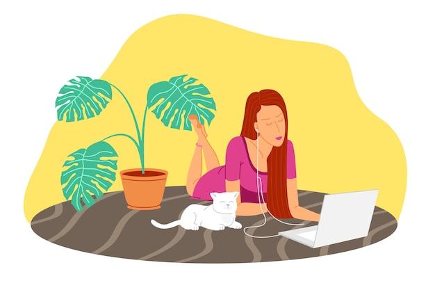 Praca w domu, seminarium internetowe, podcast, ilustracja wektorowa płaskie spotkanie online. wideokonferencje, telepraca, dystans społeczny, dyskusja biznesowa, nauka. dziewczyna z laptopem słucha podcastu