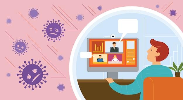 Praca W Domu, Wideokonferencja, Profilaktyka, Choroba Koronawirusa Premium Wektorów