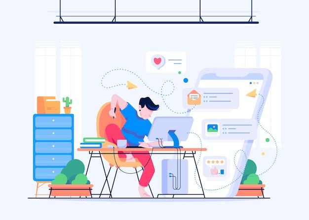 Praca w domu z człowiekiem rysującym na krześle i dużym telefonie komórkowym na karcie pióra książki komputera