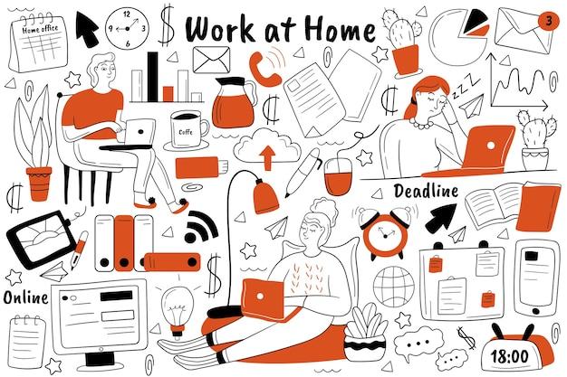 Praca w domu zestaw doodle. zbiór ręcznie rysowanych szkiców gryzmoły.