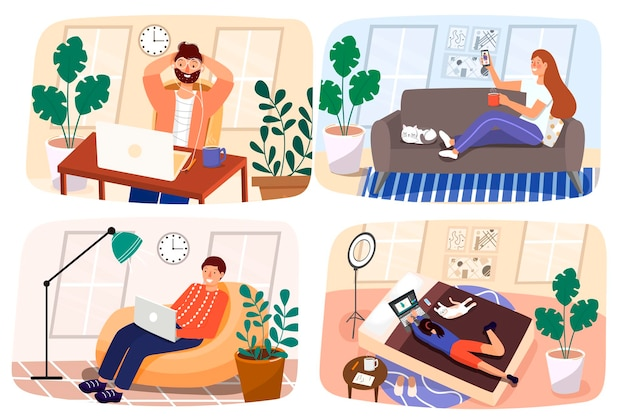 Praca w domu. zostać w domu. mężczyźni i kobiety komunikują się online. komunikuj się z rodziną podczas kwarantanny. ilustracja w płaskim nowoczesnym stylu.