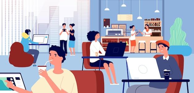 Praca w kawiarni. kawiarnia, biznes coworking wewnątrz baru