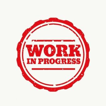 Praca w pieczęć postępu w stylu gumowym