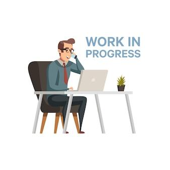 Praca w toku. biznesmena charakteru ilustracja w płaskim kreskówka stylu. praca w toku. rozpoczęcie działalności gospodarczej. nowoczesne biuro. kodowanie, tworzenie oprogramowania. programista pracuje z laptopem.