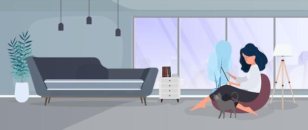 Praca z banerem do domu. dziewczyna siedzi na podnóżku i pracuje przy tablecie. kobieta z tabletem siedzi na dużej pufie. wygodna praca w koncepcji domu. wektor.