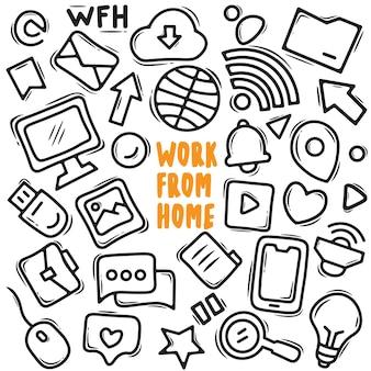 Praca z domu doodle element