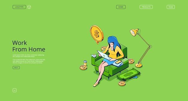 Praca z domu izometryczna strona docelowa kobieta freelancer pracująca na laptopie siedząca na fotelu przy kopule...