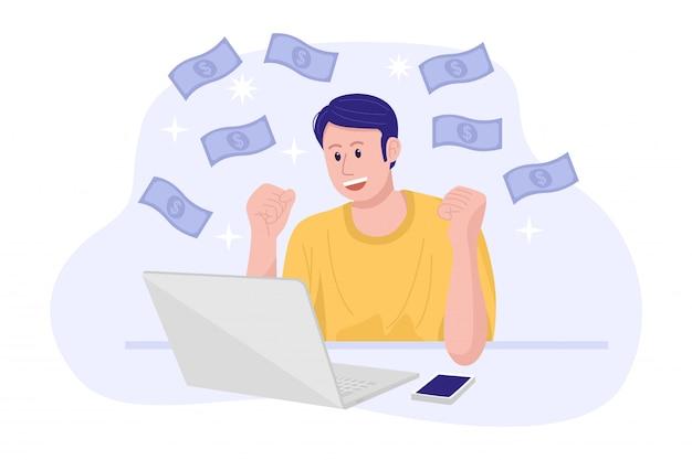 Praca z domu koncepcja, młody człowiek szczęśliwy zarabianie pieniędzy w internecie.