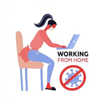 Praca z domu. koronawirus na zewnątrz. zostań w domu. pracownik dziewczyna z twarzy maską pracuje na laptopie w domu. koncepcja kwarantanny. płaska ilustracja ze skrzyżowanym znakiem covid-19