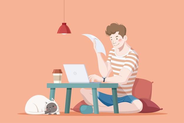 Praca z domu płaskiej ilustracji