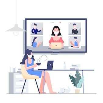 Praca z domu zostaje w domu w trakcie telekonferencji dla biznesu, koncepcja wybuchu koronawirusa. płaska konstrukcja streszczenie ludzi.
