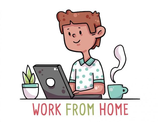 Praca z kwarantanny domowej ilustracja kreskówka