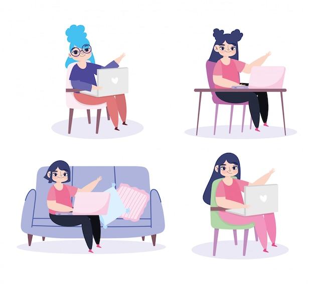 Praca zdalna, kobiety siedzące z laptopem i komputerem
