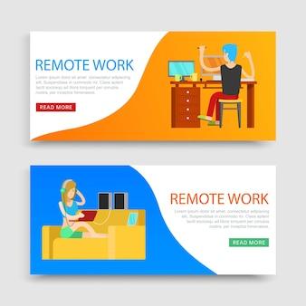Praca zdalna napis na zestawach, miejsce pracy, praca przez internet na komputerze, ilustracja. biznes online, siedząca kobieta z laptopem w domu, niezależny pracownik.