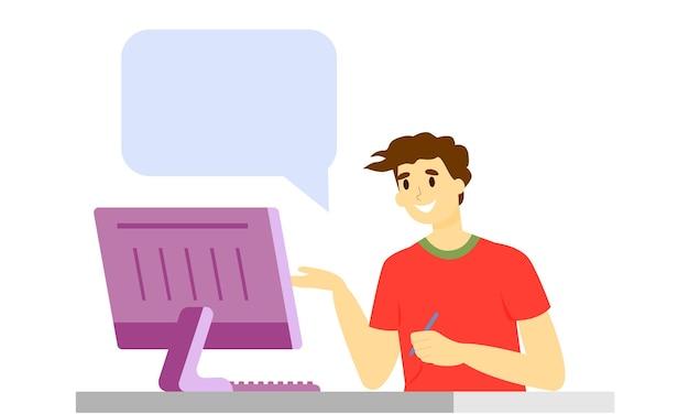 Praca zdalna nauka zdalna praca z domu mężczyzna pracuje na komputerze i rozmawia przez telefon pandemia