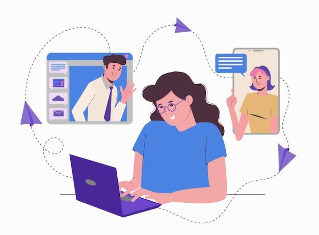 Praca zdalna w domu online. niezależny freelancer dziewczyna z laptopem. komunikacja z kolegami, zadania.