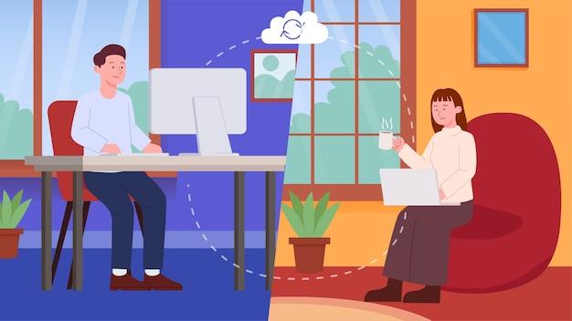 Praca zdalna z domu ilustracja koncepcja pracy