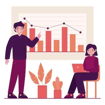 Praca zespołowa analizująca wykresy wzrostu