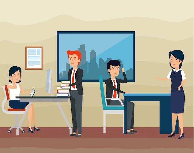 Praca zespołowa biznesmenów i bizneswomanów w biurze
