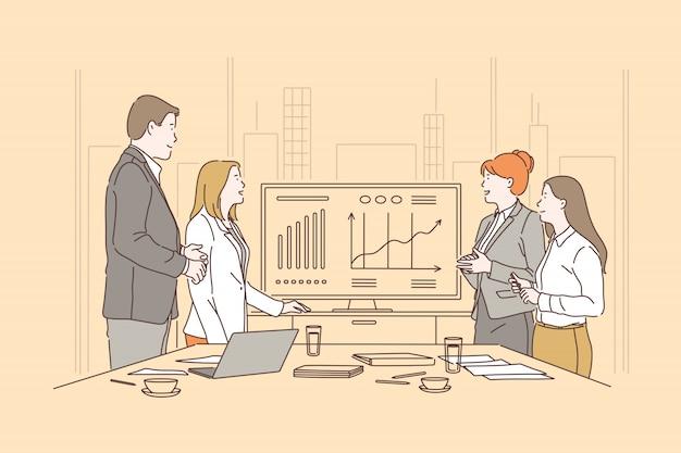 Praca zespołowa, burza mózgów koncepcja spotkania
