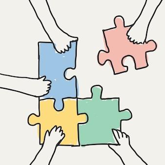 Praca zespołowa doodle wektor ręce łączące puzzle układanki