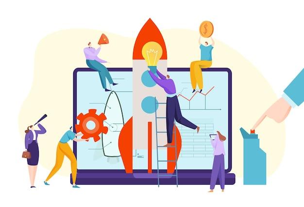 Praca zespołowa działalność biznesowa uruchomienie nowoczesnej aplikacji płaskiej ilustracji