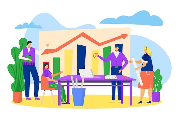 Praca zespołowa firmy, ludzie w pobliżu wykresu, ilustracji wektorowych. biznesmen, kobieta charakter pracy z finansami diagramu się koncepcja. postęp firmy, wzrost na wykresie, spotkanie firmowe przy stole.