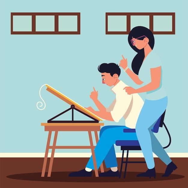 Praca zespołowa kobieta mężczyzna biurko biuro