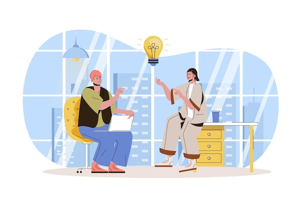 Praca zespołowa koncepcja sieciowa pracownicy burza mózgów tworzenie pomysłów omawianie zadań roboczych