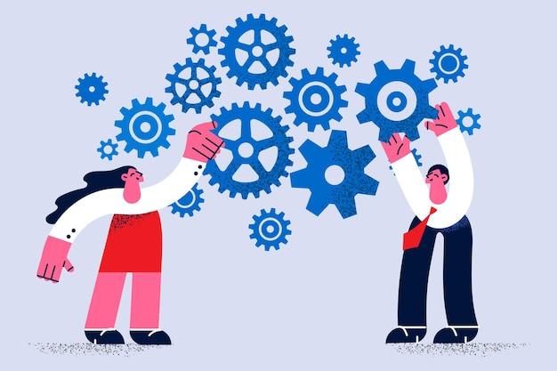Praca zespołowa, koncepcja współpracy biznesowej. dwóch młodych ludzi, współpracowników biznesowych, mężczyzna i kobieta, stojący, naprawiający, pracujący, przekładnie, razem, zjednoczenie wysiłków, wektor, ilustracja