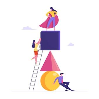Praca zespołowa kreatywnych ludzi współpracuje w celu osiągnięcia celu. udany zespół marzeń