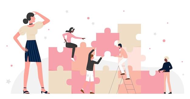 Praca zespołowa ludzi biznesu nad połączeniem puzzli pracownicy biurowi burza mózgów na wyzwanie