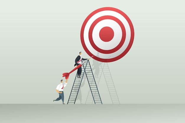 Praca zespołowa ludzi biznesu zaangażowana w osiągnięcie założonych celów. koncepcja marketingowa. ilustracja wektor