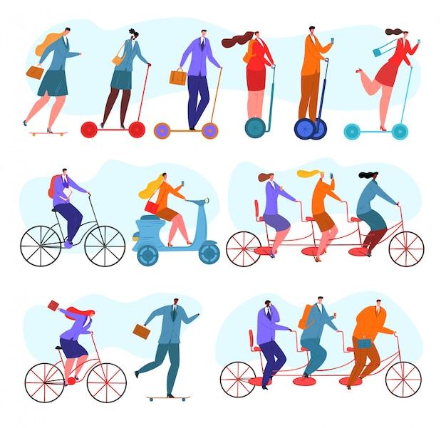 Praca zespołowa, ludzie biznesu jeżdżą na rowerach zestaw ilustracji. jazda na rowerze w tandemie, praca zespołowa. biuro osób pracujących razem udanej koncepcji, działalność grupy biznesowej.