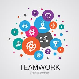 Praca zespołowa modny koncepcja projektowania bańki interfejsu użytkownika z prostymi ikonami. zawiera takie elementy jak współpraca, cel, strategia, wydajność i inne