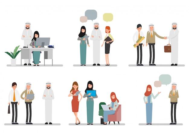 Praca zespołowa muzułmańskich ludzi arabskich w miejscu biurowym. międzynarodowa praca korporacyjna.