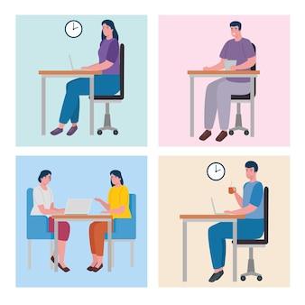Praca zespołowa pięciu pracowników coworkingowych postaci biurowych