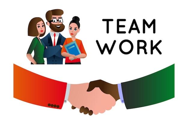 Praca zespołowa. praca zespołowa ludzi biznesu, zasoby ludzkie, możliwości kariery, umiejętności zespołowe, zarządzanie, ludzie łączący płaską ilustrację wektorową na baner strony internetowej i stronę docelową. metafora zespołu.