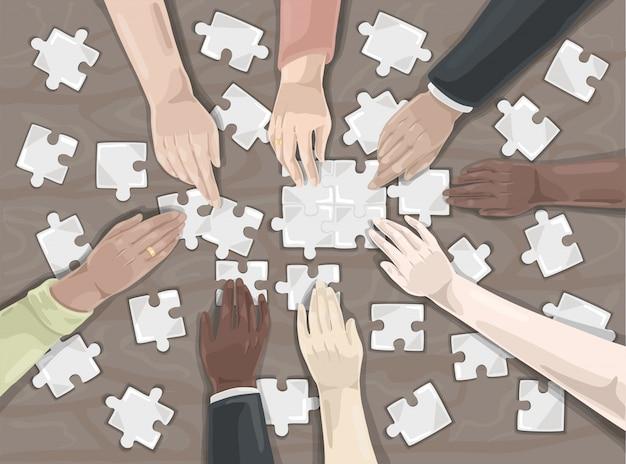 Praca zespołowa, puzzle, koncepcja współpracy.