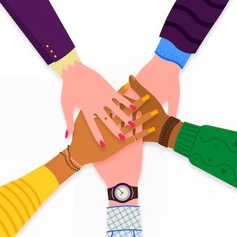 Praca zespołowa rąk biznesowych. przyjaciele z stertą ręki pokazuje jedność i pracę zespołową, odgórny widok. biznes, współpraca i partnerstwo. nie dla rasizmu. ilustracja